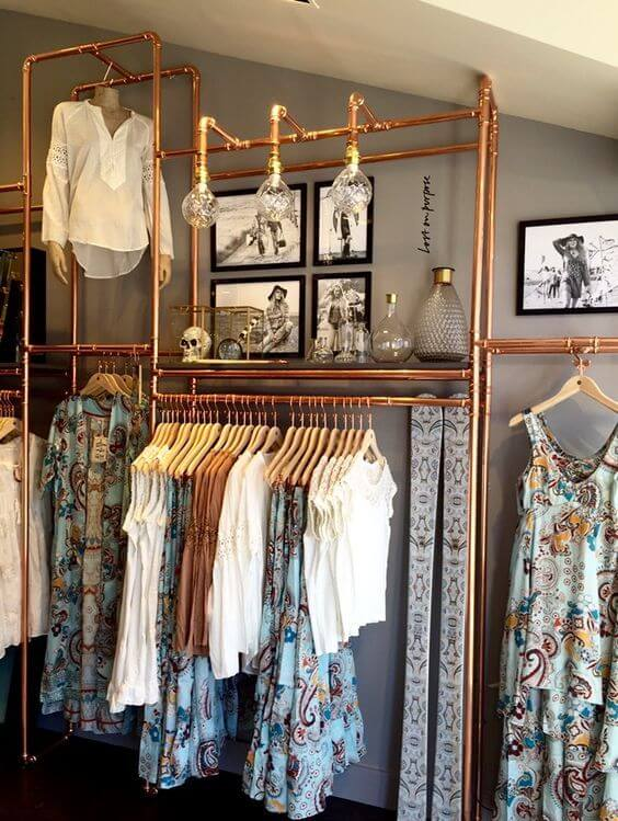 closet aberto - closet com estrutura em cor cobre
