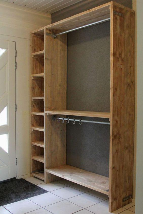 closet aberto - closet com madeira crua
