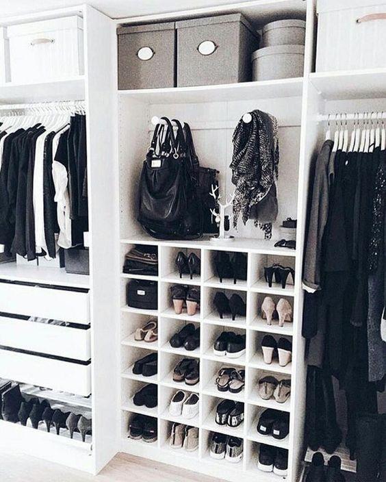 closet aberto - closet com nichos para sapato
