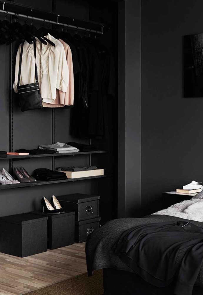 closet aberto - closet com parede preto
