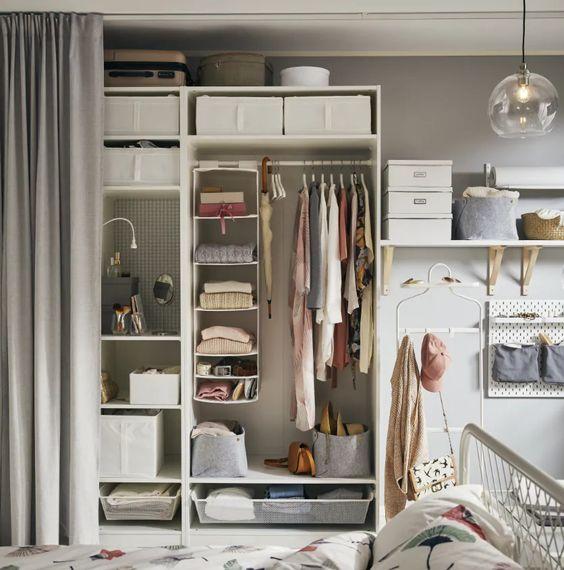 closet aberto - closet com prateleiras de tecido