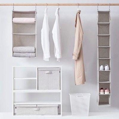 closet aberto - closet simples com gavetas de tecido
