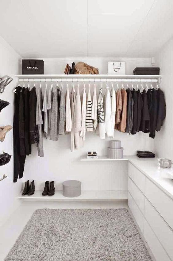 closet aberto - closet simples com gaveteiro