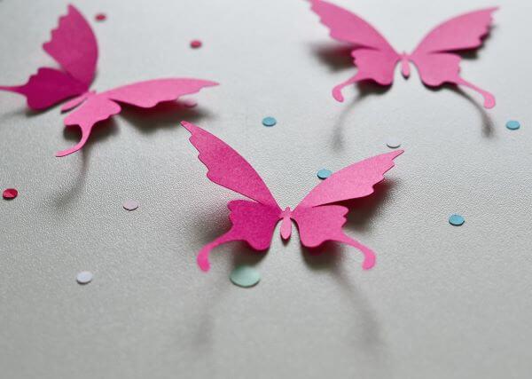 Como fazer borboleta de papel rosa
