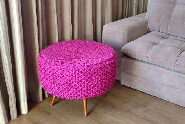 Como fazer puff violeta de crochê