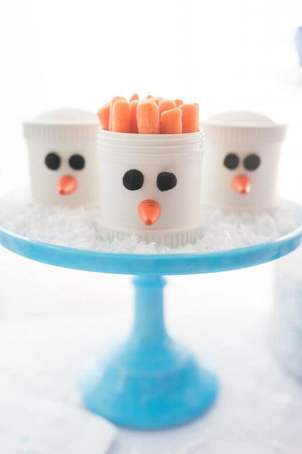 copinhos personalizados com carinha de boneco de neve para festa infantil da frozen Foto Pinterest