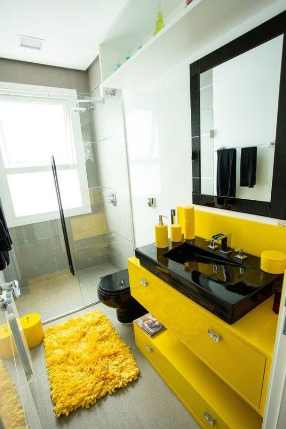cor amarela - banheiro com decoração amarelo