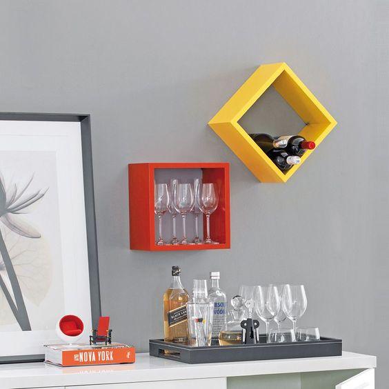 cor amarela - cozinha com nicho amarelo e vermelho