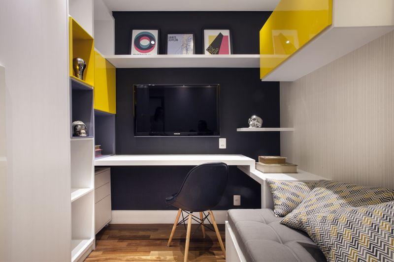 cor amarela - home office rock n roll preto e amarelo