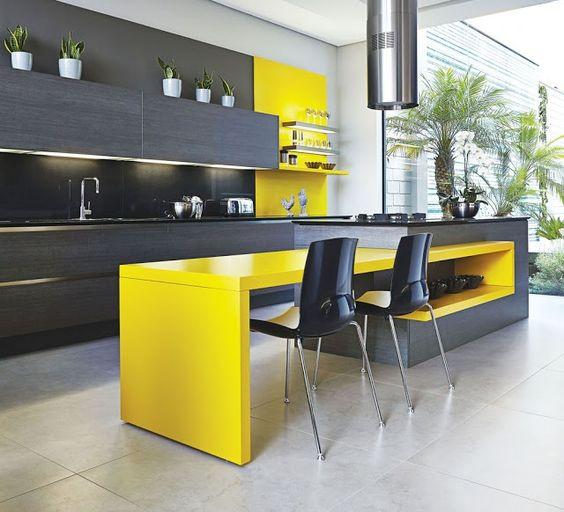 cor amarela - mesa de jantar moderna amarela
