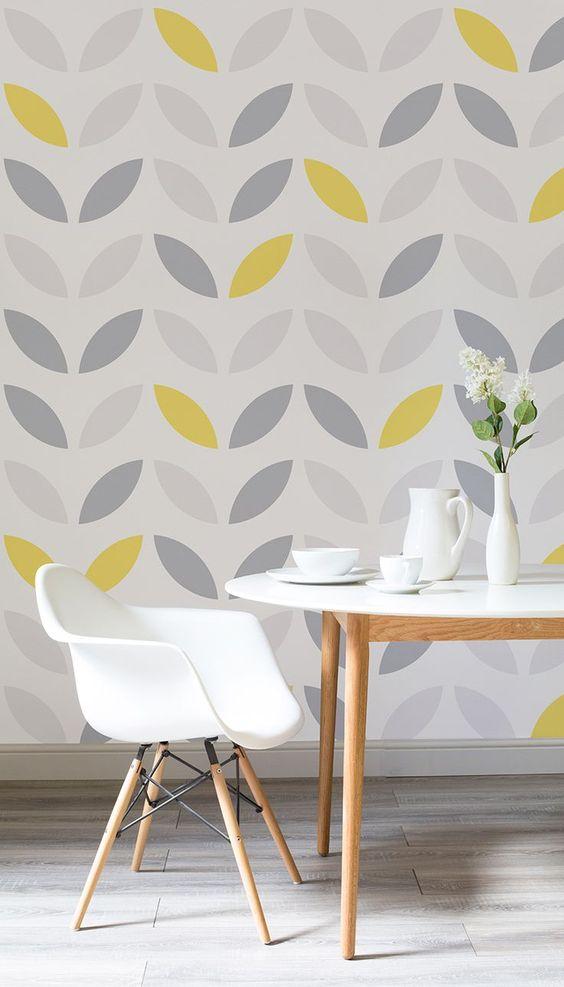 cor amarela - papel de parede com tons de cinza e amarelo