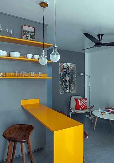 cor amarela - sala com bancada amarela