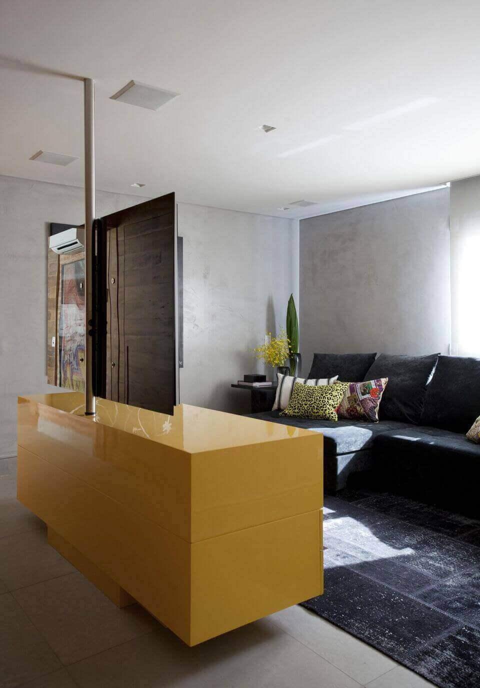 cor amarela - sala de estar com móvel amarelo