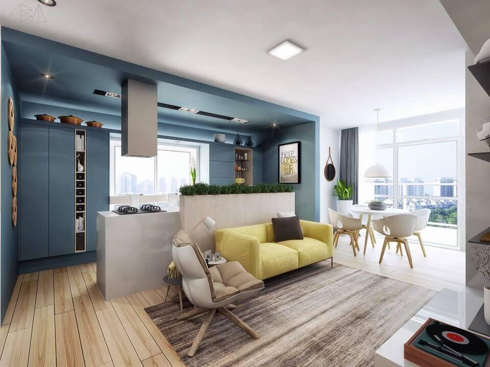 cor amarela - sofá amarelo e cozinha azul