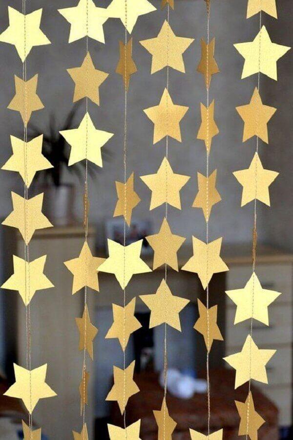 cortina de estrelas douradas para decoração de ano novo Foto Etsy