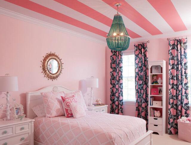 cortina estampada para quarto rosa
