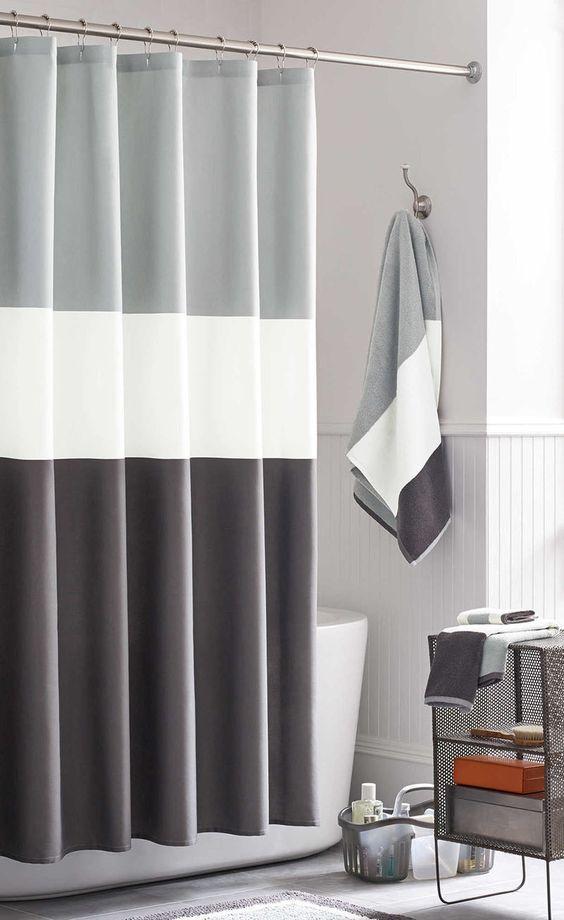 cortina para banheiro - banheiro com cortina combinando com a toalha