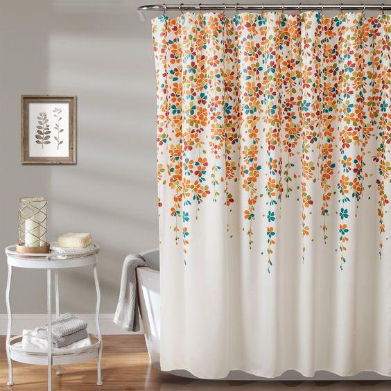 cortina para banheiro - cortina branca com flores coloridas