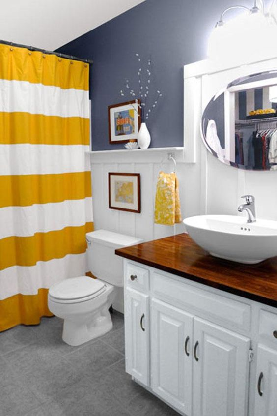 cortina para banheiro - cortina branca e amarela