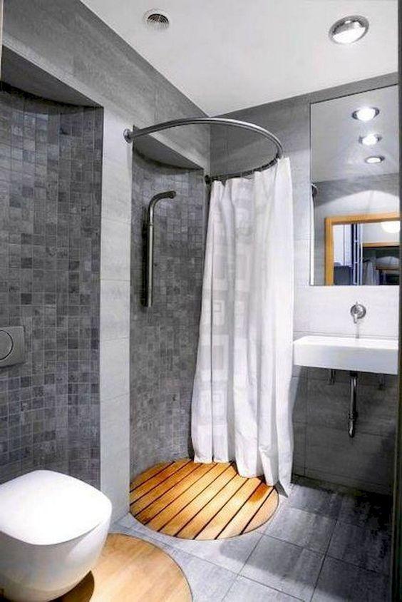 cortina para banheiro - cortina branca em box circular