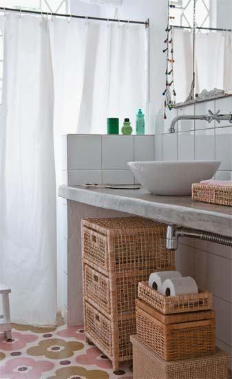 cortina para banheiro - cortina branca simples