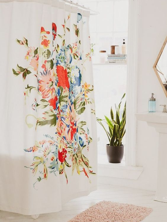 cortina para banheiro - cortina colorida