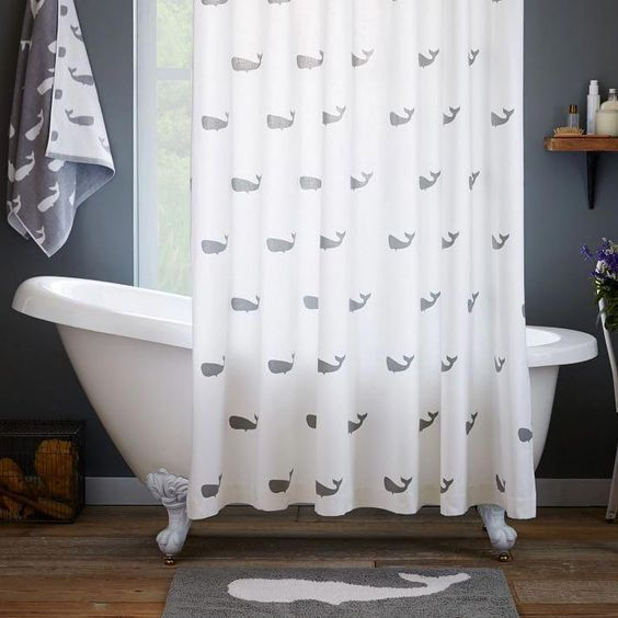 cortina para banheiro - cortina com desenhos de baleia