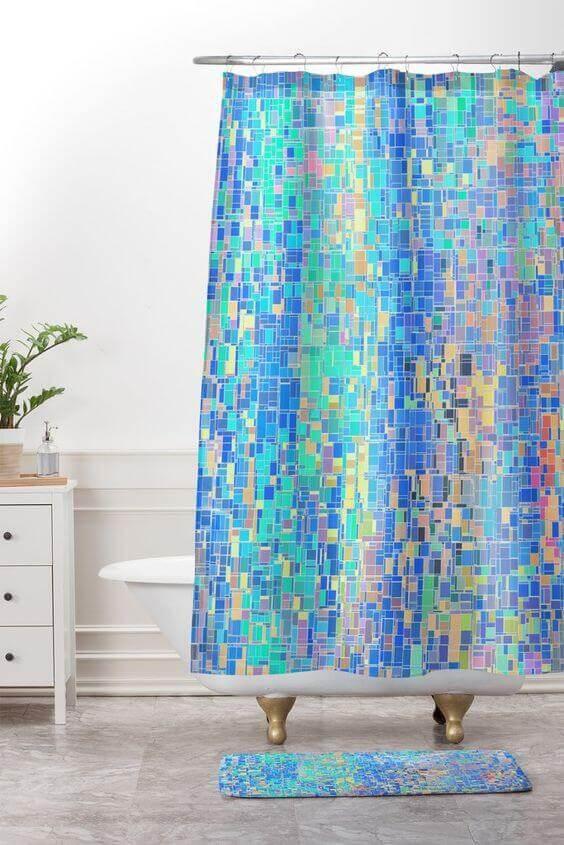 cortina para banheiro - cortina com detalhe divertido