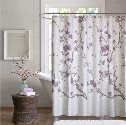 cortina para banheiro - cortina com galhos e flores