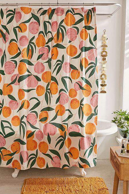 cortina para banheiro - cortina com laranjas