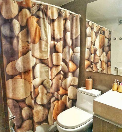 cortina para banheiro - cortina de pedras