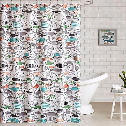 cortina para banheiro - cortina de peixes