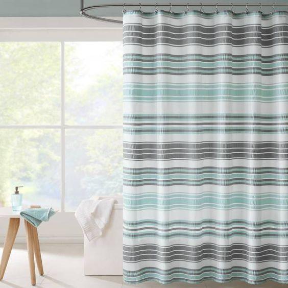 cortina para banheiro - cortina listrada colorida