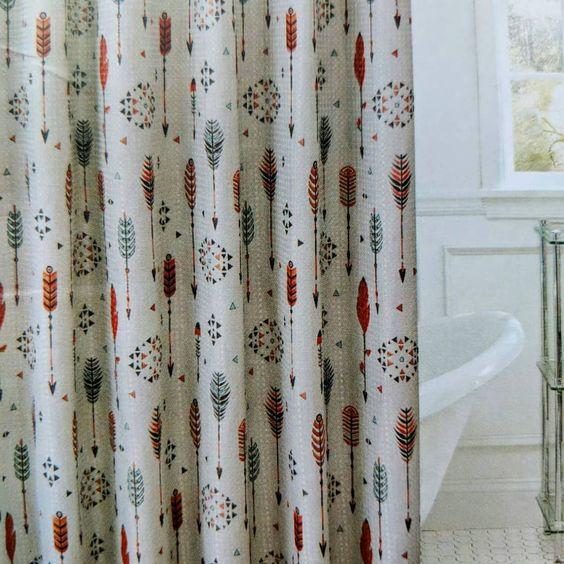 cortina para banheiro - cortina para banheira com flechas