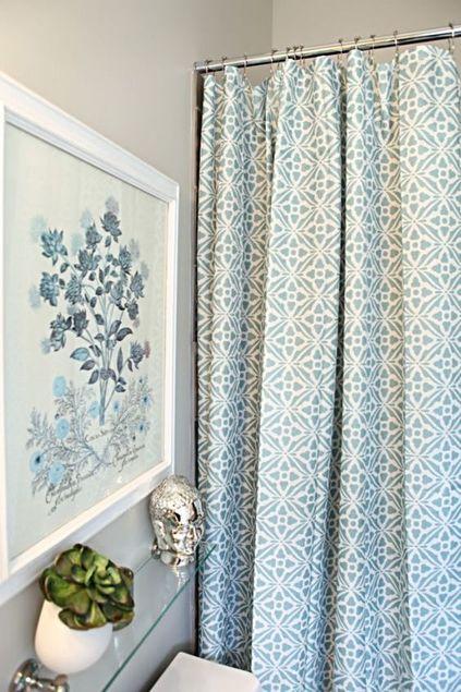 cortina para banheiro - cortina verde com desenhos