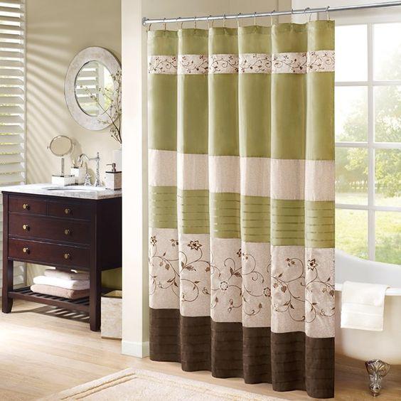cortina para banheiro - cortina verde e marrom com desenhos