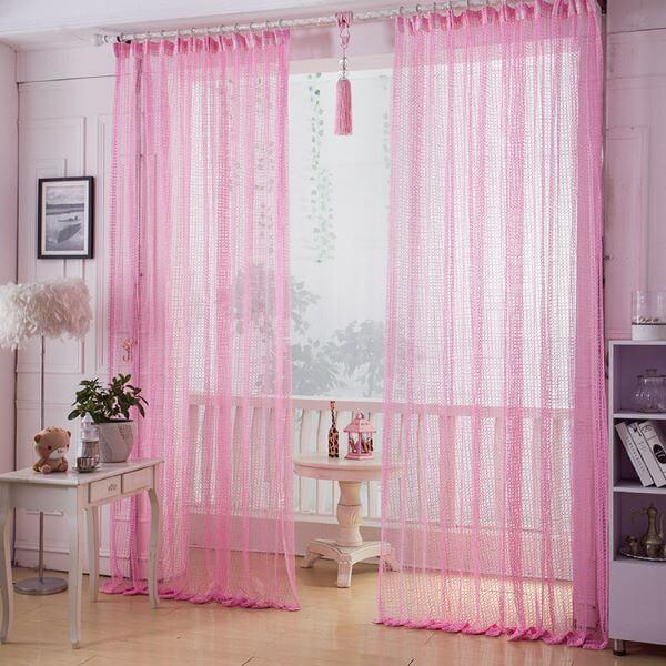 cortina para quarto rosa