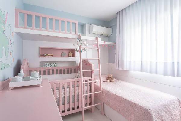 Cortina para quarto rosa e azul de bebê