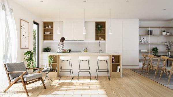 Cozinha escandinava integrada