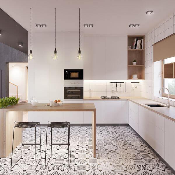 Cozinha branca e clean para um ambiente moderno estilo escandinavo