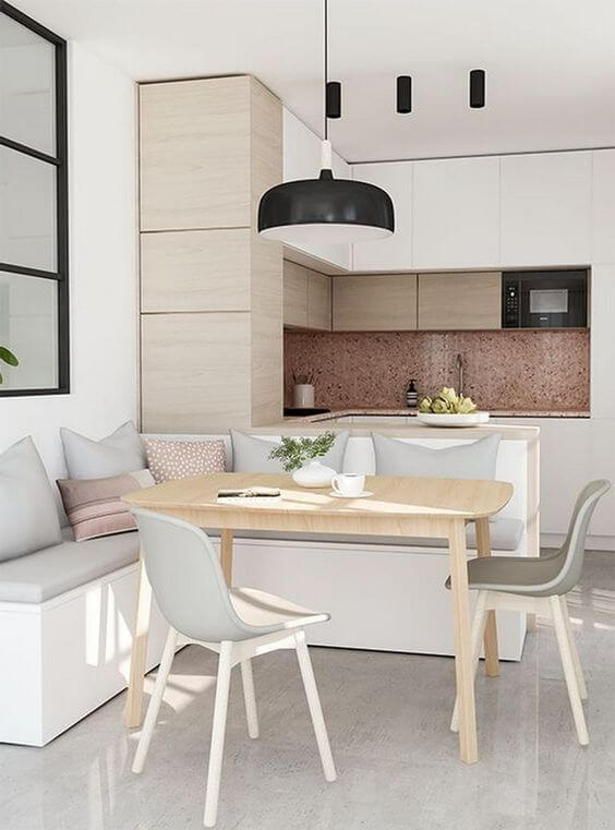 Cozinha escandinava cinza e rose gold