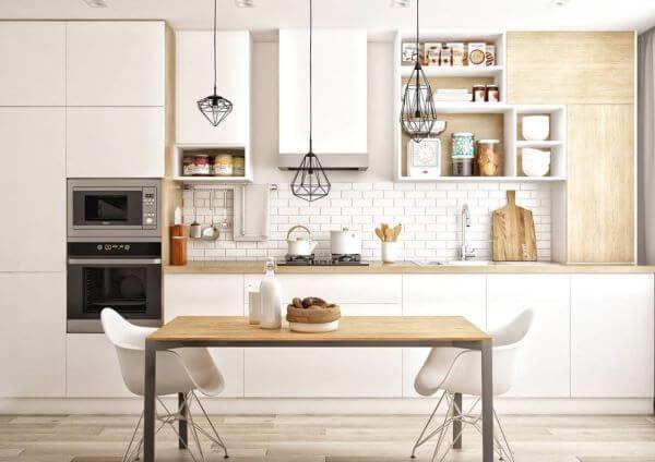 Cozinha com pendente aramado na mesa