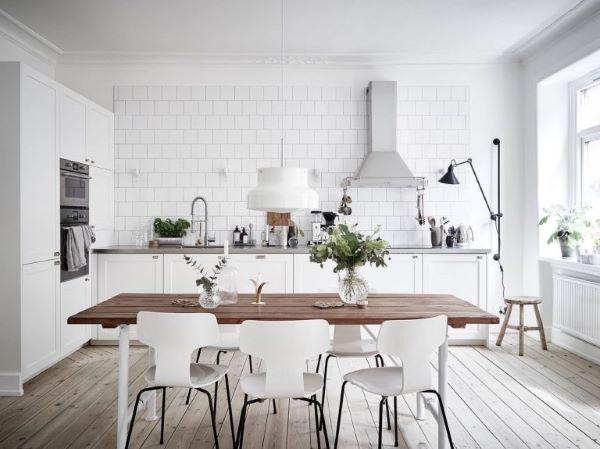 Cozinha estilo escandinava branca