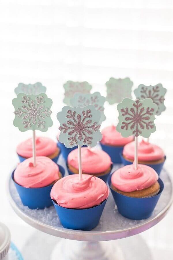cupcake decorado para festa simples da frozen Foto Ideias Decor