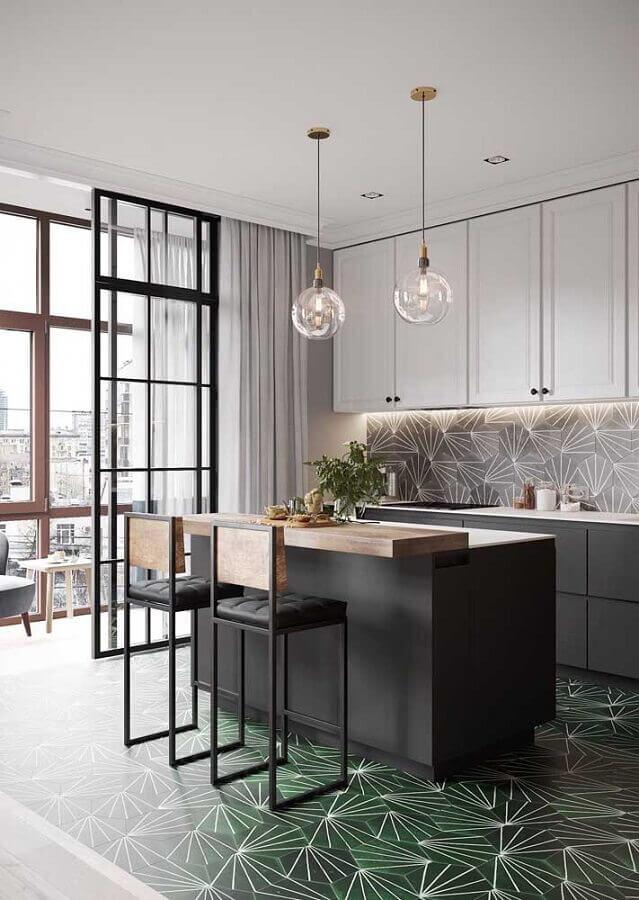 decoração cozinha planejada com piso verde musgo Foto CocoChic