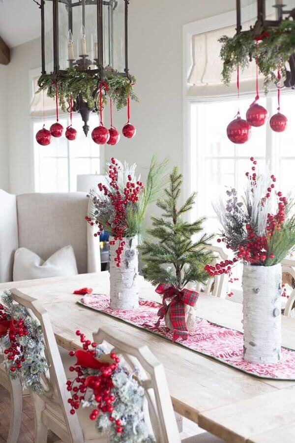 Christmas decoration for dining room with arrangements of Christmas balls hanging from chandeliers Photo Pinterest