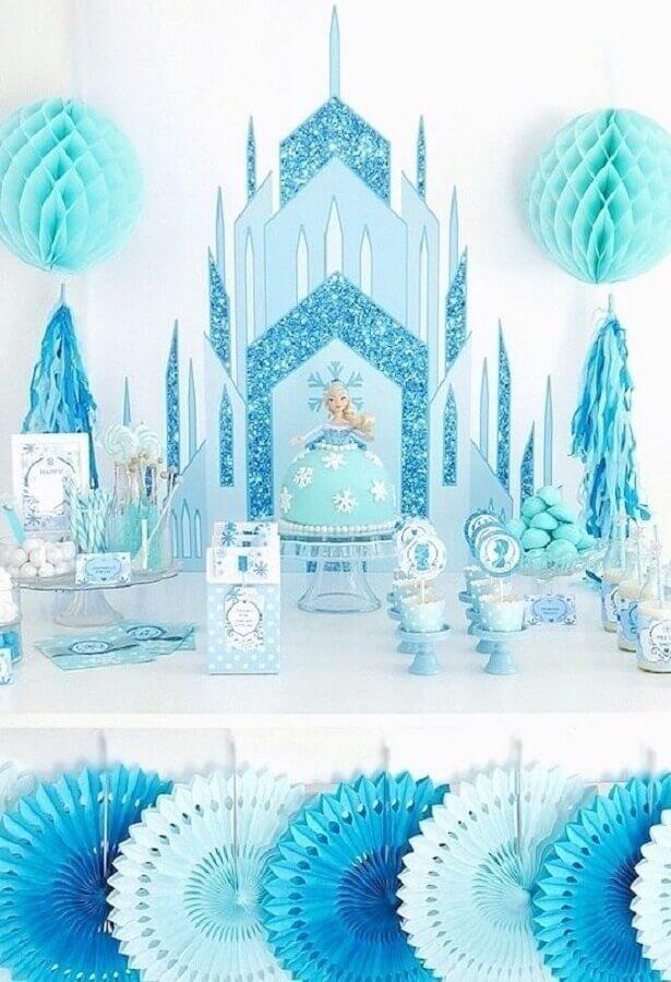 decoração de festa da frozen azul e branco Foto 321Achei