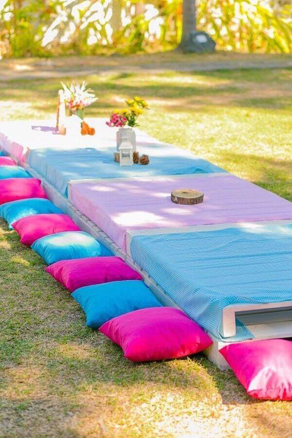 decoração de piquenique azul e rosa Foto Casinha da Cys