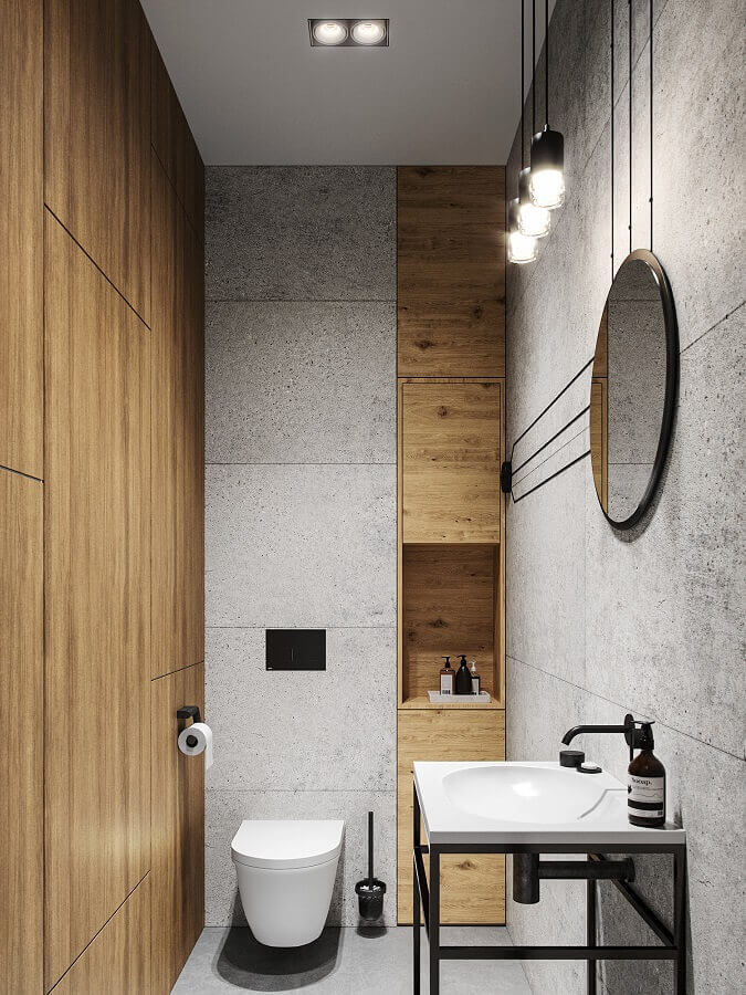 decoração estilo industrial para banheiro cinza com madeira Foto ArtStation