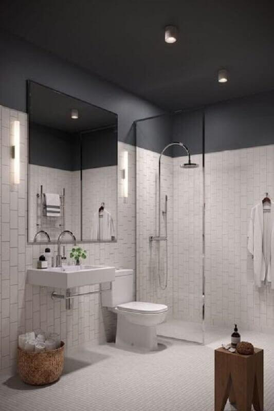 decoração minimalista para banheiro cinza e branco Foto Côté Maison